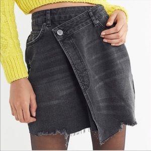 BDG Urban Outfitters Black Denim Wrap Mini Skirt L